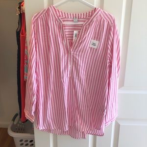 Old Navy stripped tunic, pink/white, size L, NEW